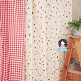 棉麻落地窗帘:可爱樱桃小兔